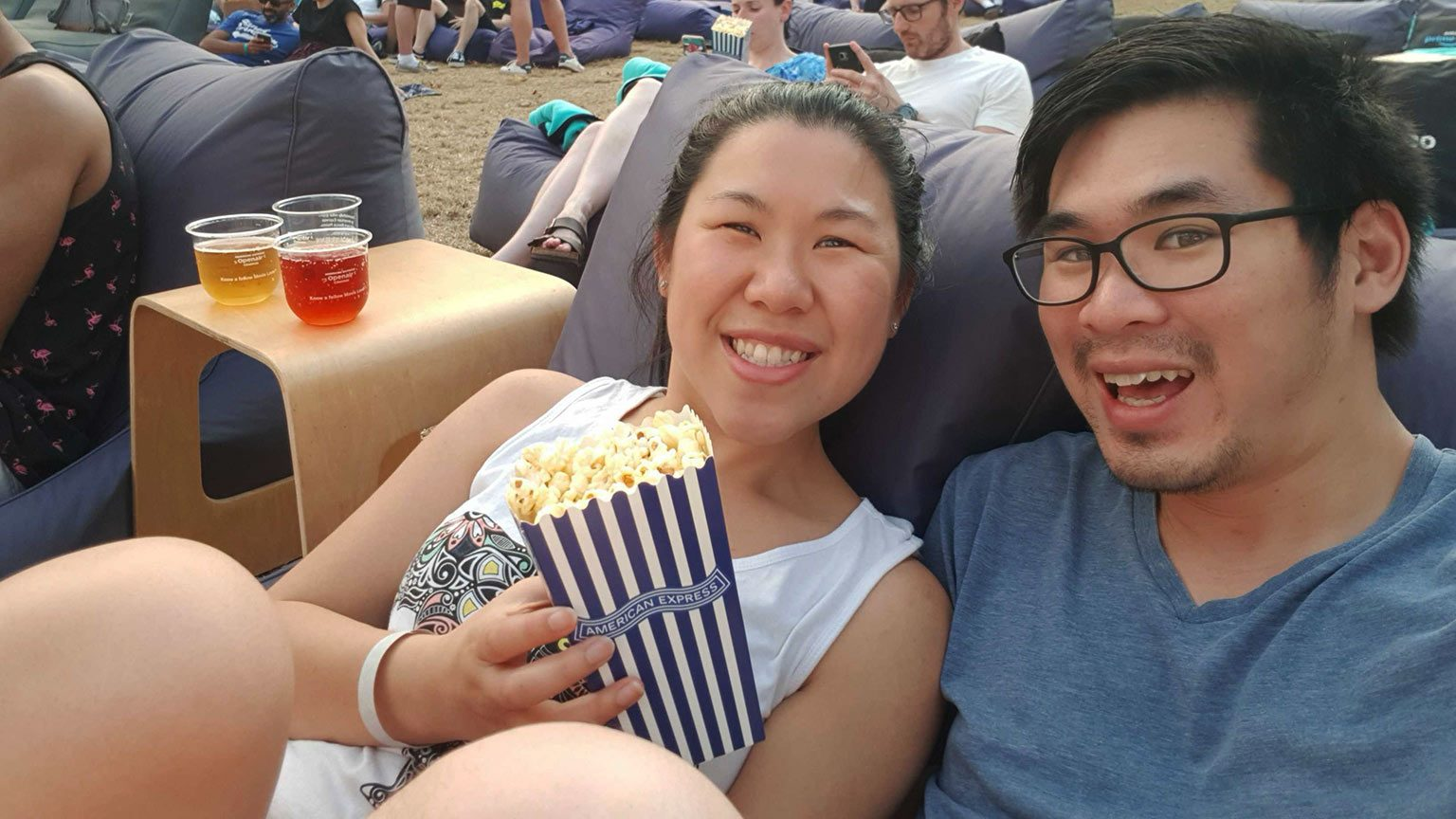 Couple at the OpenAir Cinemas Sydney.