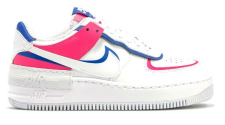 Where to shop Nike's pink and blue Air Force 1 Shadow