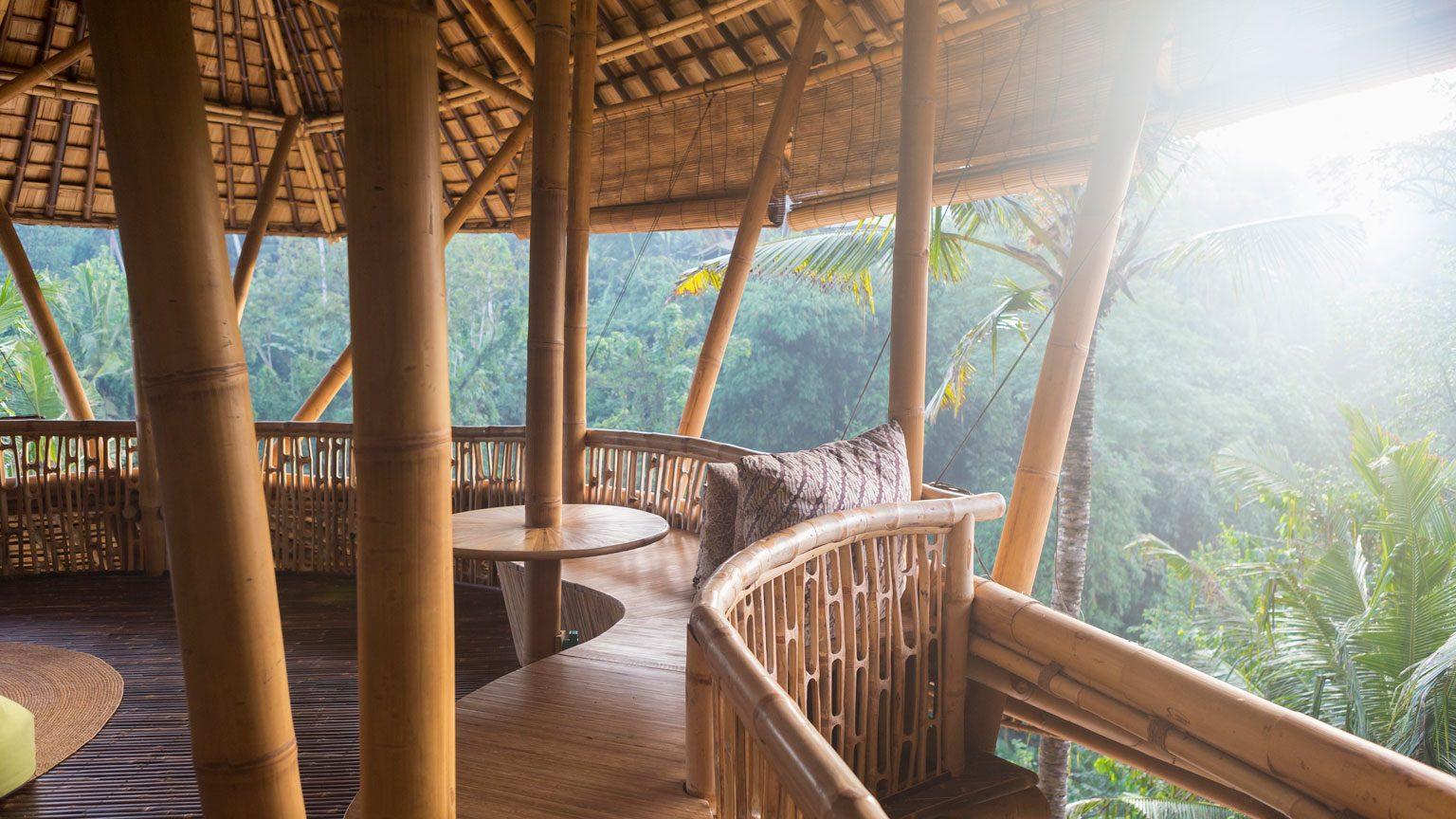 Bamboo hotel patio, Ubud, Bali, Indonesia