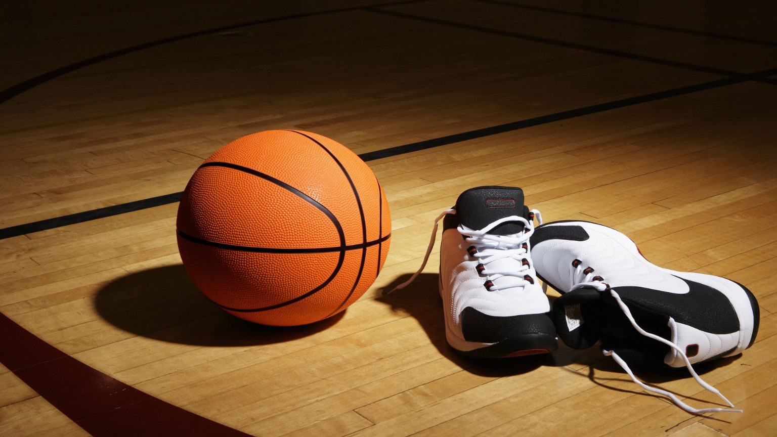 Basketball and basketball shoes