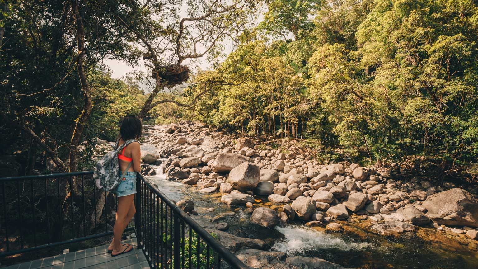 Tourist at Mossman gorge national park in far north Queensland