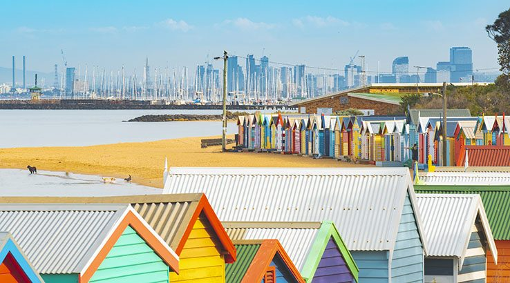 The colorful Brighton Bathing Boxes, Melbourne, Australia