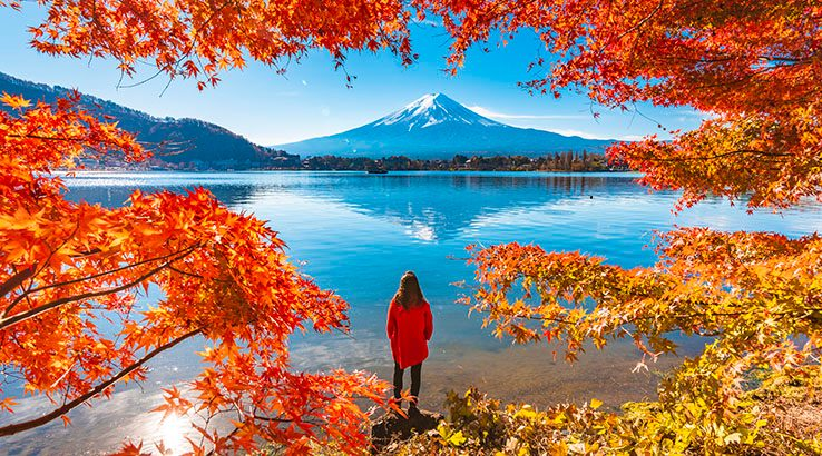 Tourist admiring Mt. Fuji in autumn, Japan