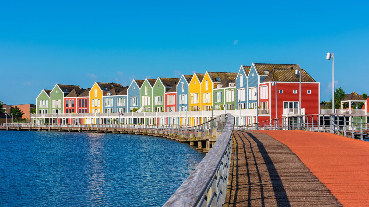 Modern Multi Colored houses in Houten Netherlands