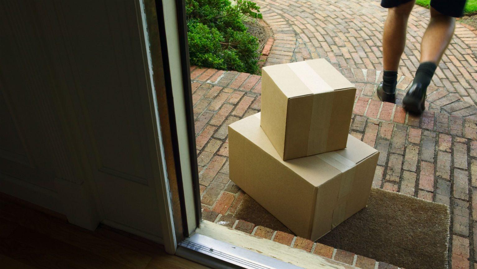 Cardboard boxes left on doorstep