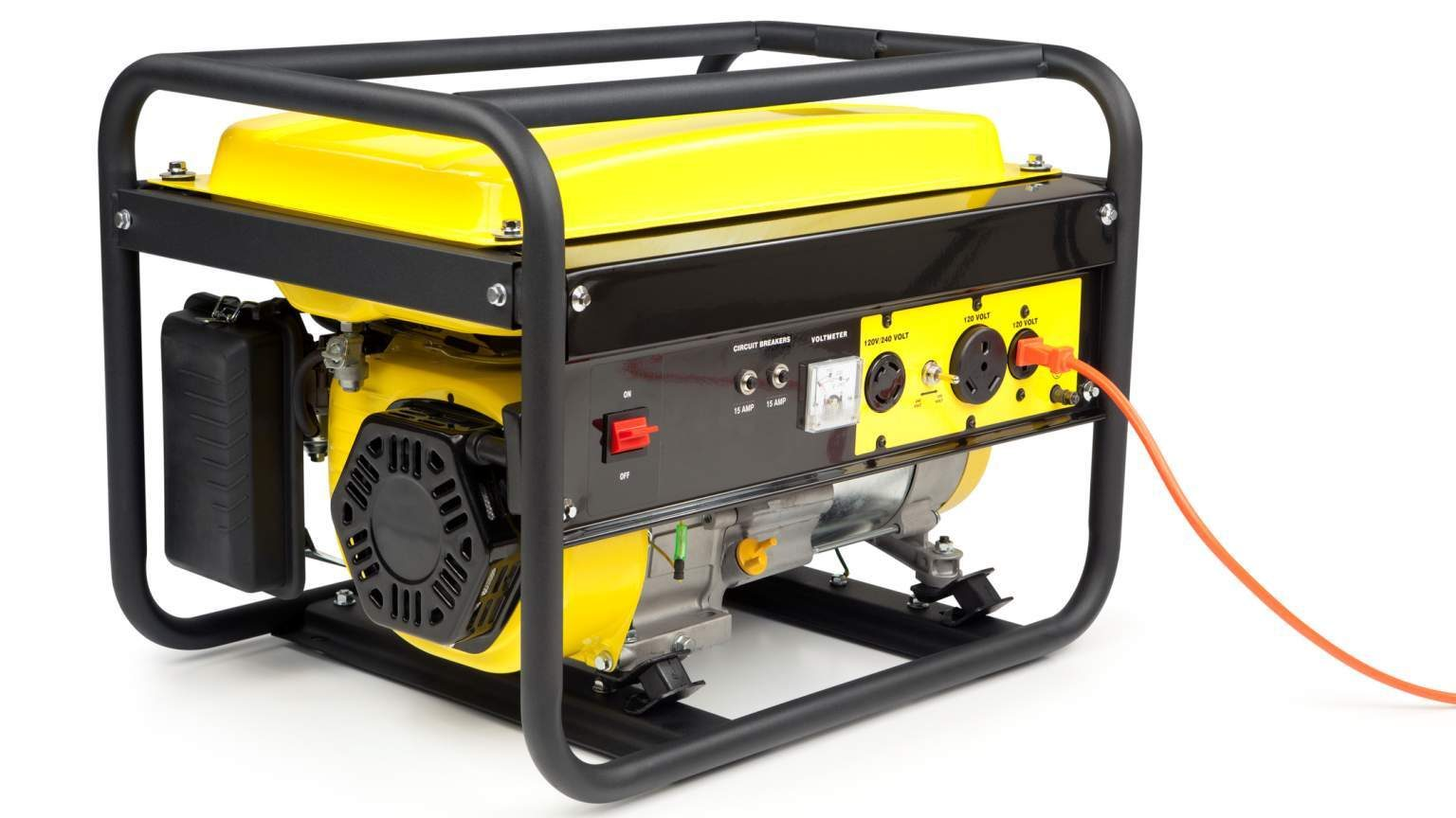 Gasoline powered, 4000 watt, portable electric generator. Isolated on a white background.