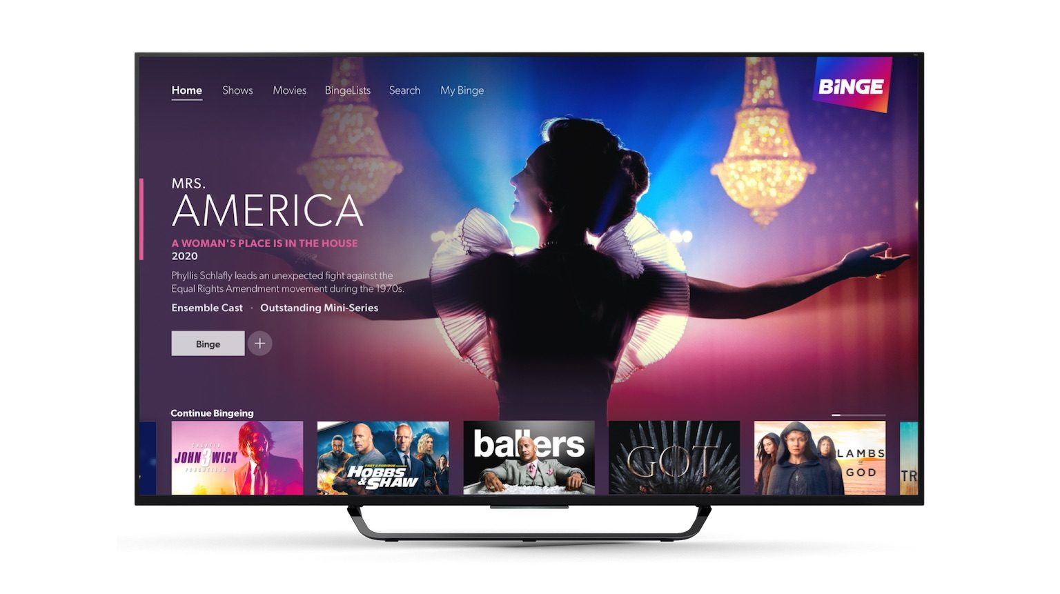 BInge interface on a TV