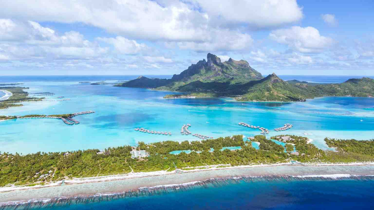 Aerial view of the lagoon in Bora Bora