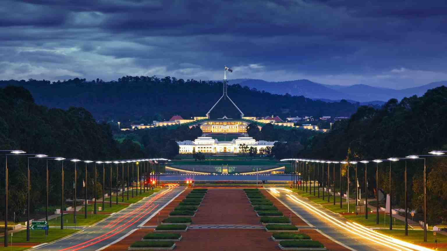 Parliament House in Canberra at night