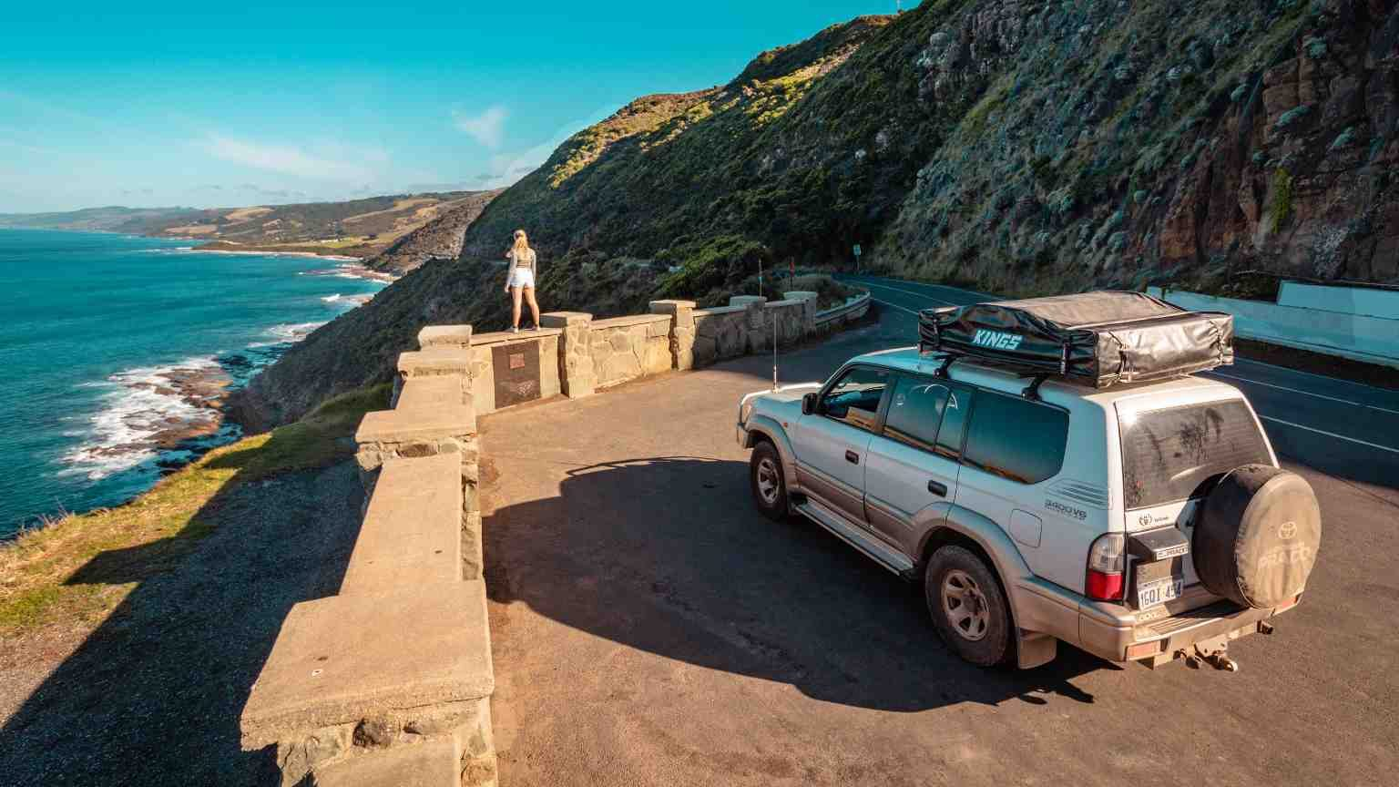 Woman on a 4WD trip along Great Ocean Road