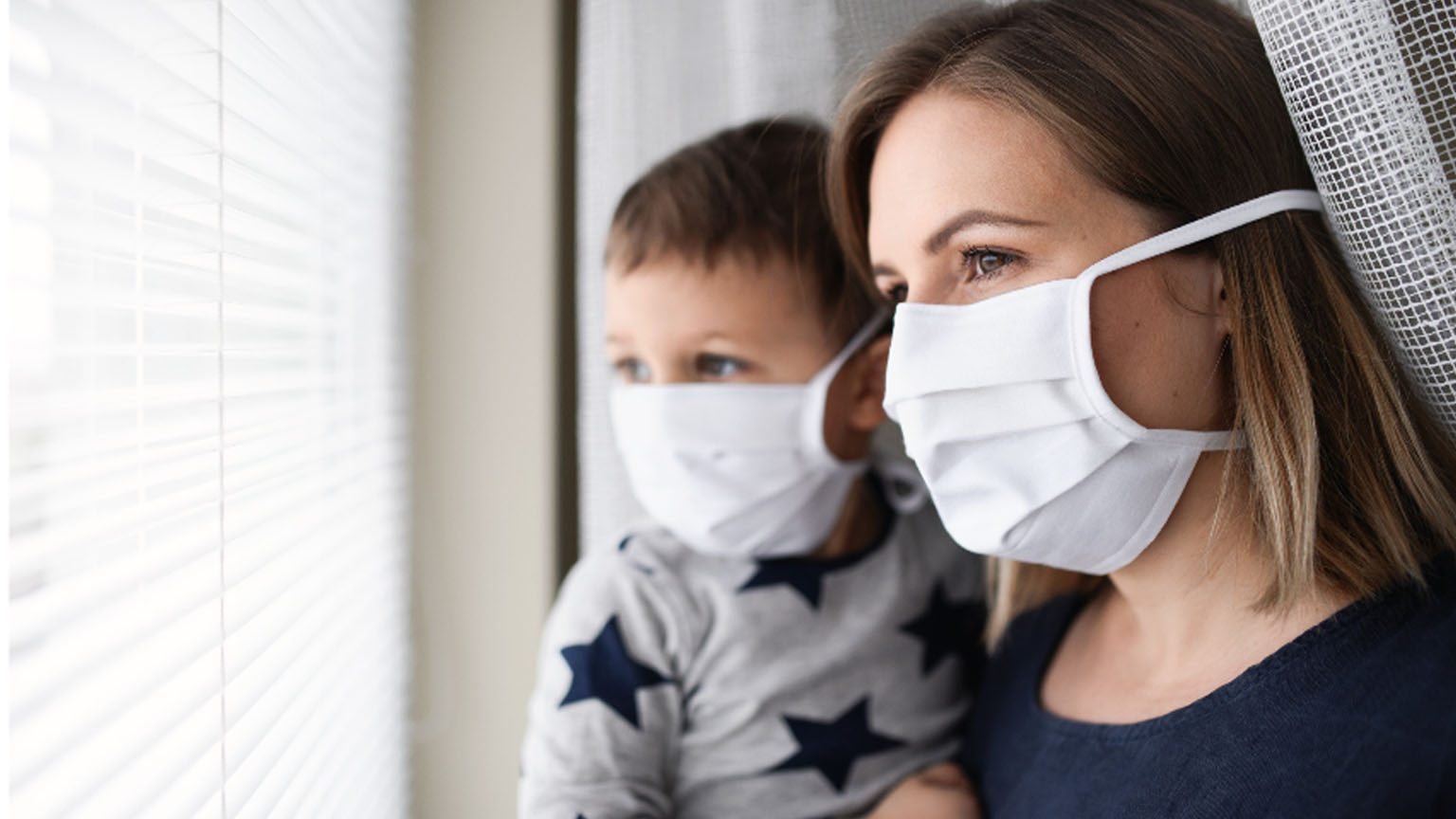 Mom and Son with Masks