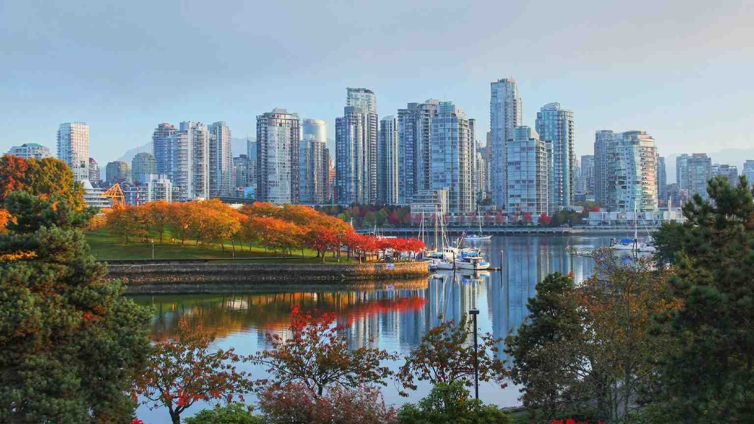 Vancouver skyline in autumn