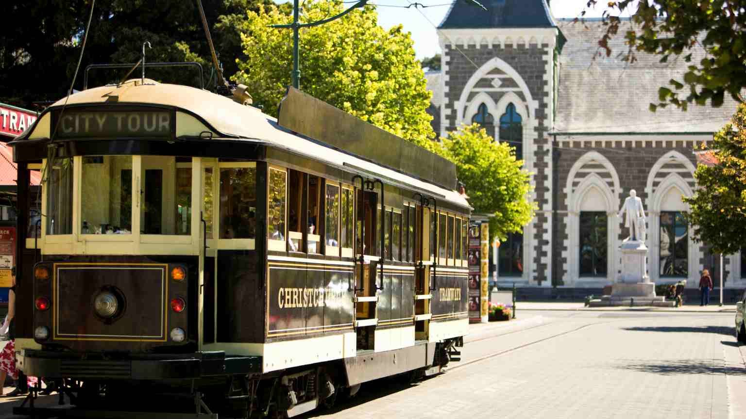 Cable car with Canterbury Museum in the background, Christchurch, New Zealand