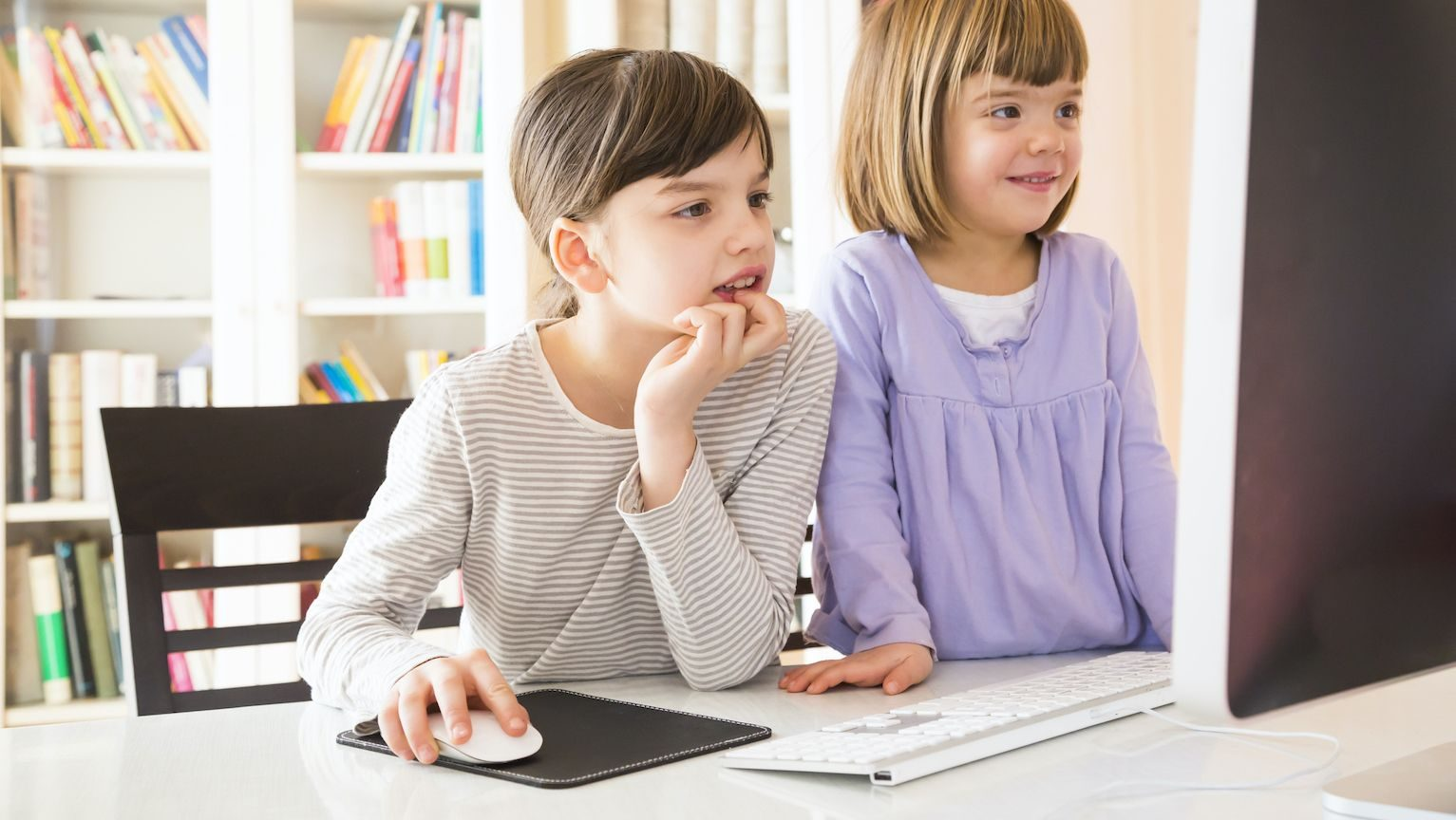 Two young sisters using the family computer with a mouse and mouse pad