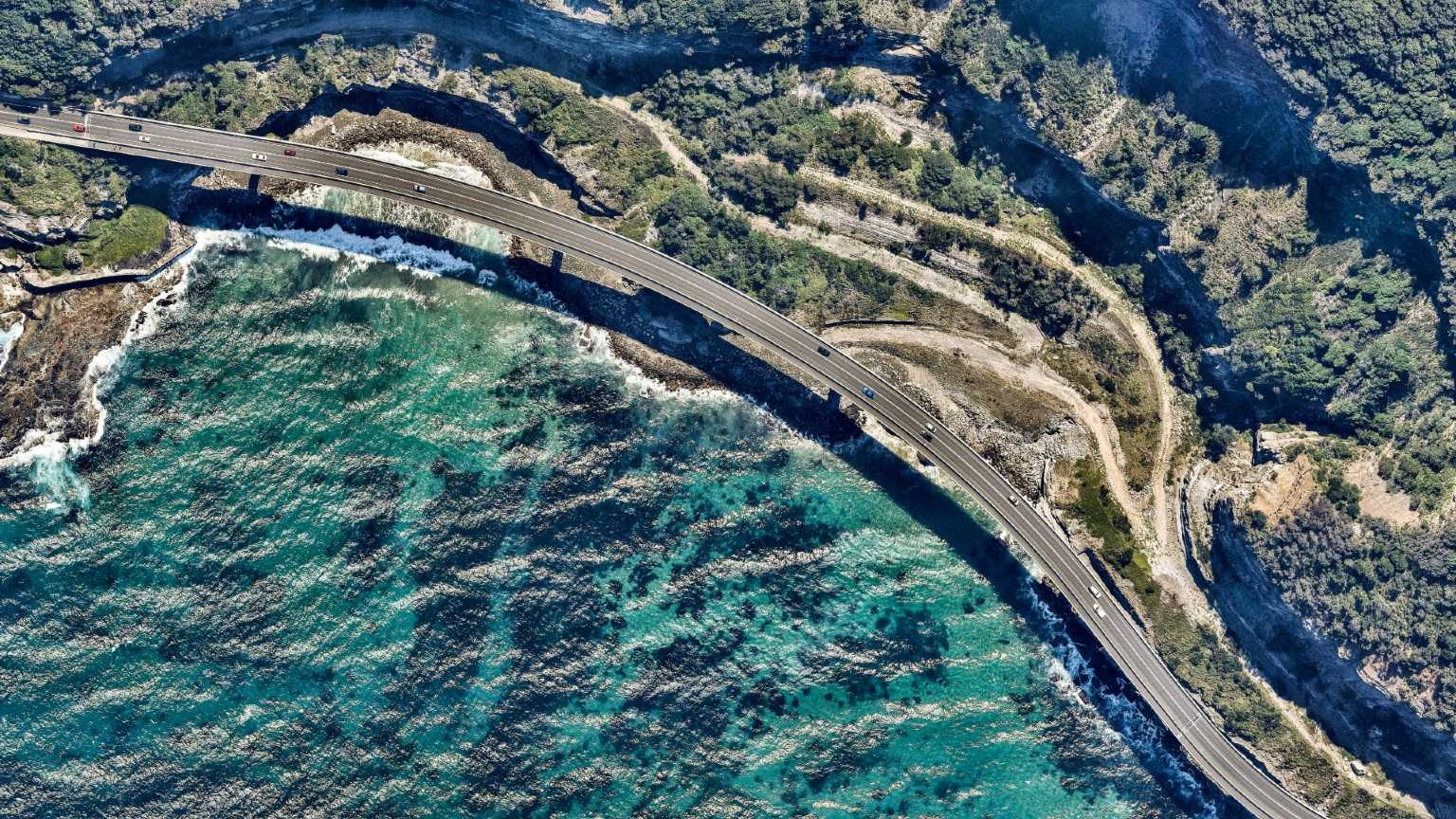 Aerial view of a highway. New South Wales. Australia