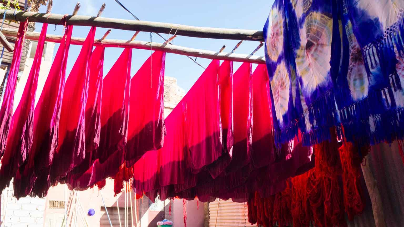 Dyed textiles hung out to dry