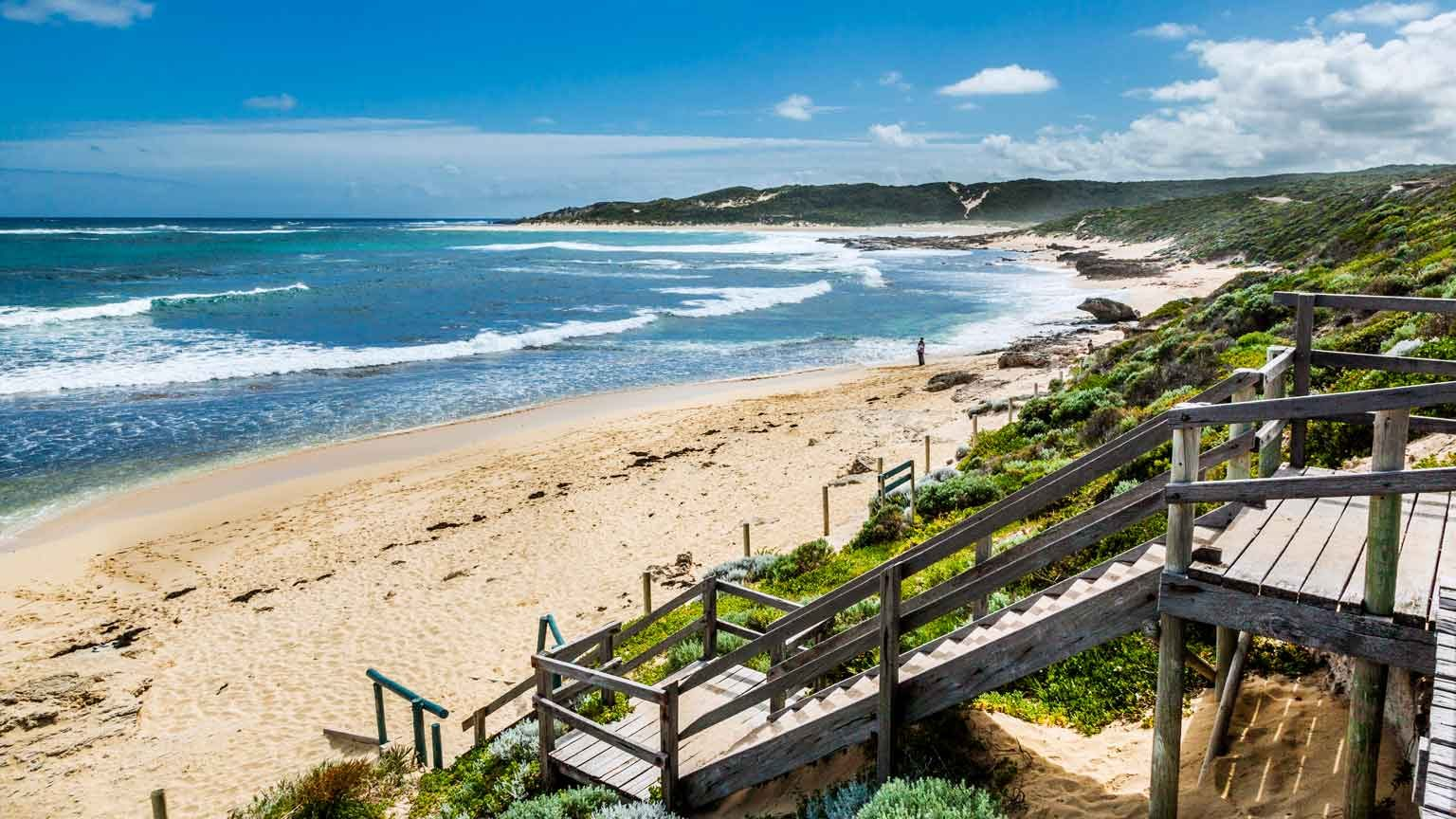 Western Australia, South West Region, Margaret River; view of Prevelly Beach, a popular surf beach at the Margaret River estuary.
