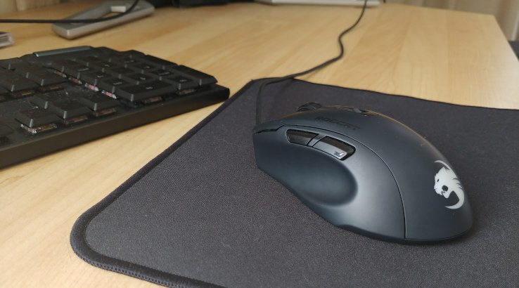 Roccat Kone Pure Ultra gaming mouse on mousepad