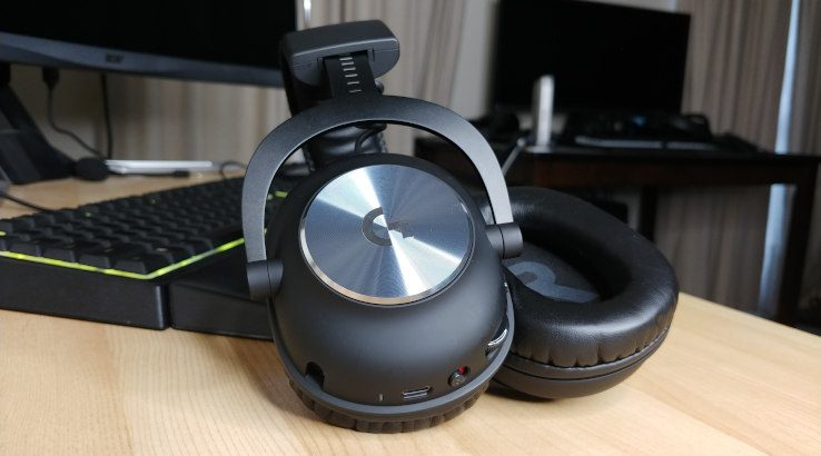 Logitech G Pro X Wireless split earcups resting on desk