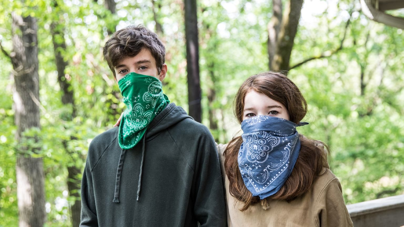 Man and woman in bandana face mask