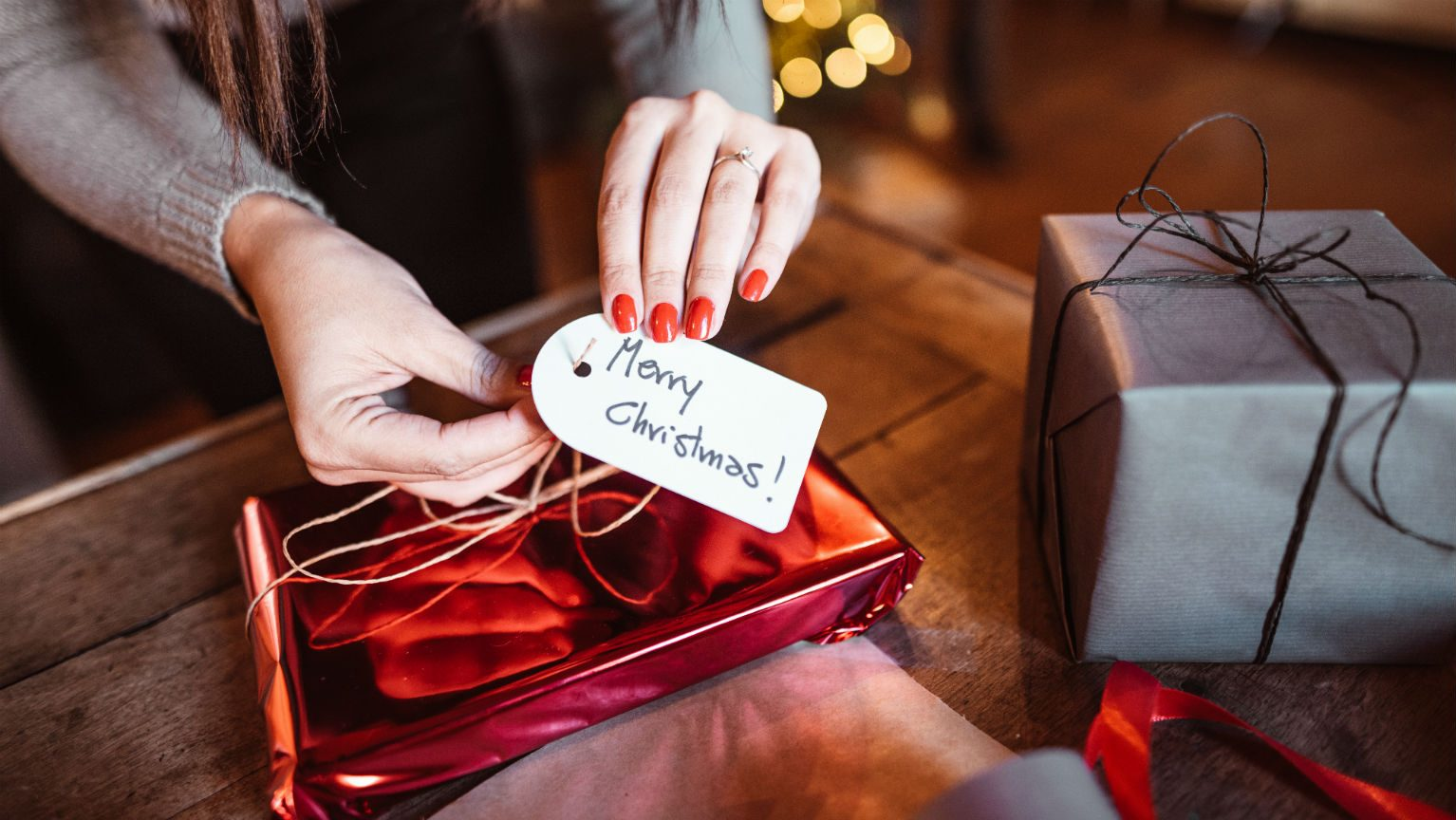 Presents with Merry Christmas tag
