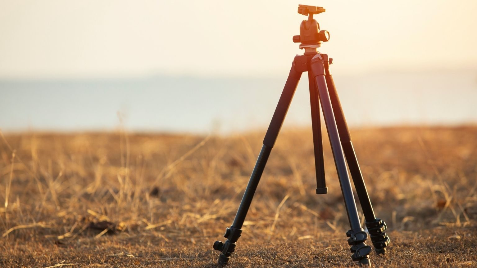 Camera tripod and sunset nature