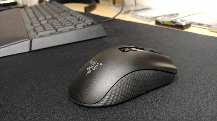 Razer DeathAdder V2 Pro next to keyboard
