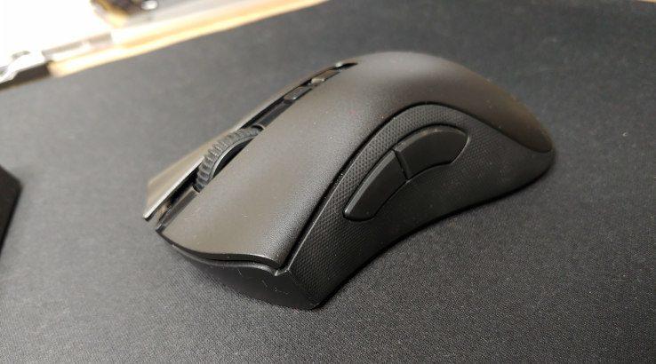 Razer DeathAdder V2 Pro on mousepad front angle