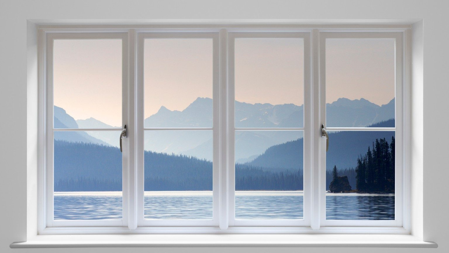 double glazed windows with mountain view