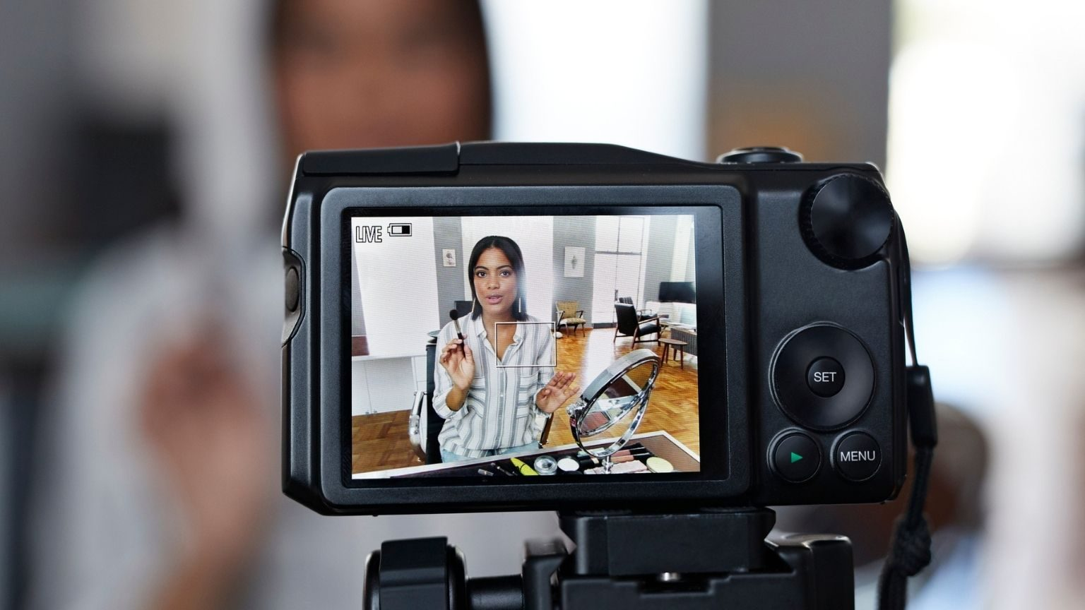 Female influencer recording videos