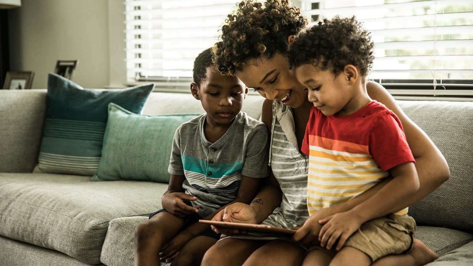 Using tablet with sons