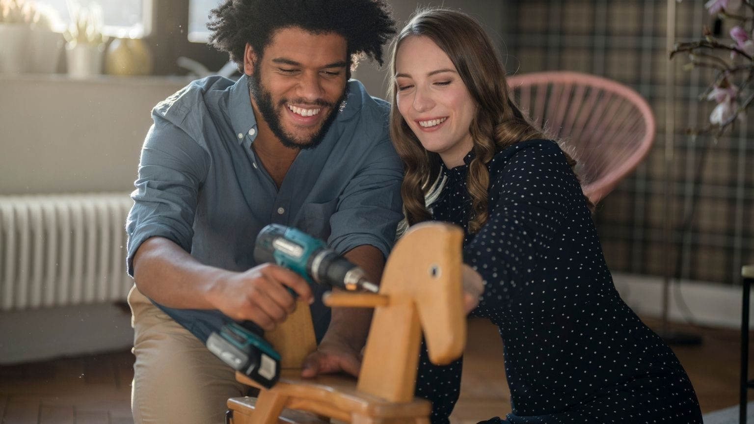 couple mounting rocking horse with cordless drill