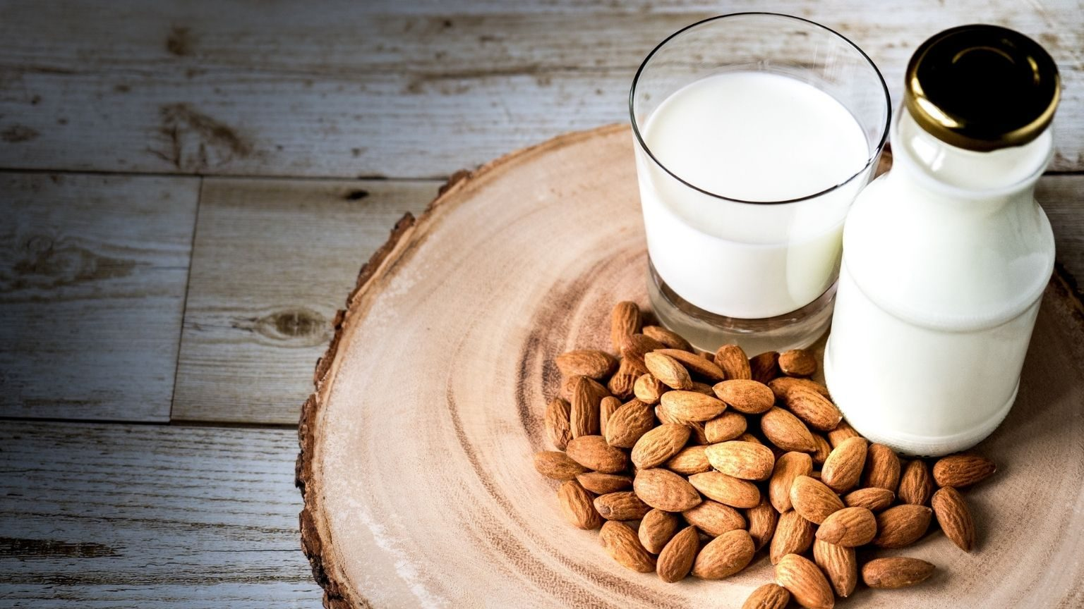 Almonds With Milk On Table
