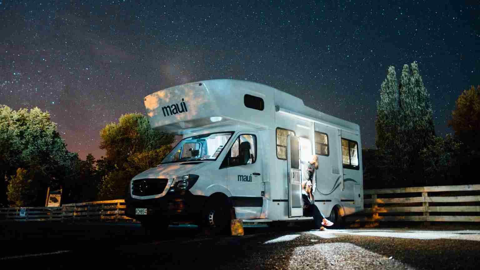 a campervan in a caravan park