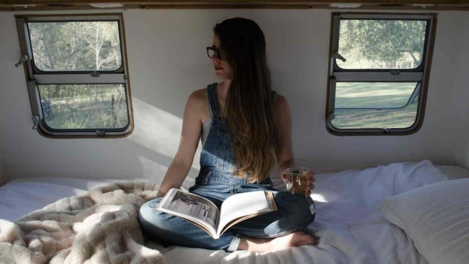 woman in campervan