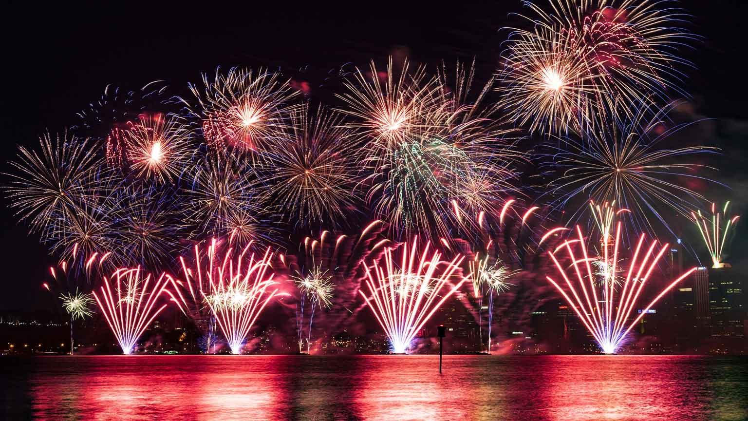 Australia Day fireworks over the Swan River Perth, Western Australia