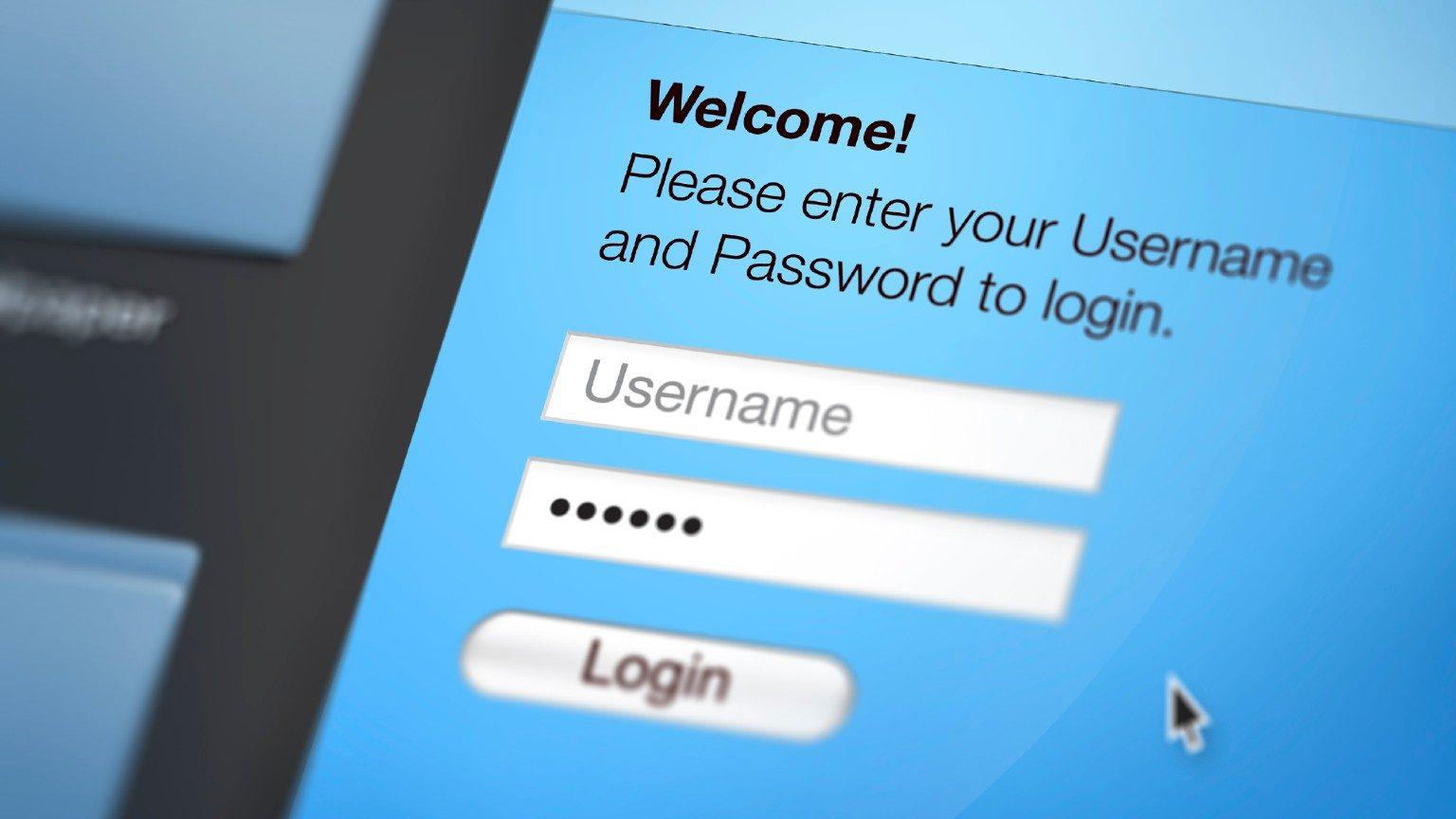 username and password login