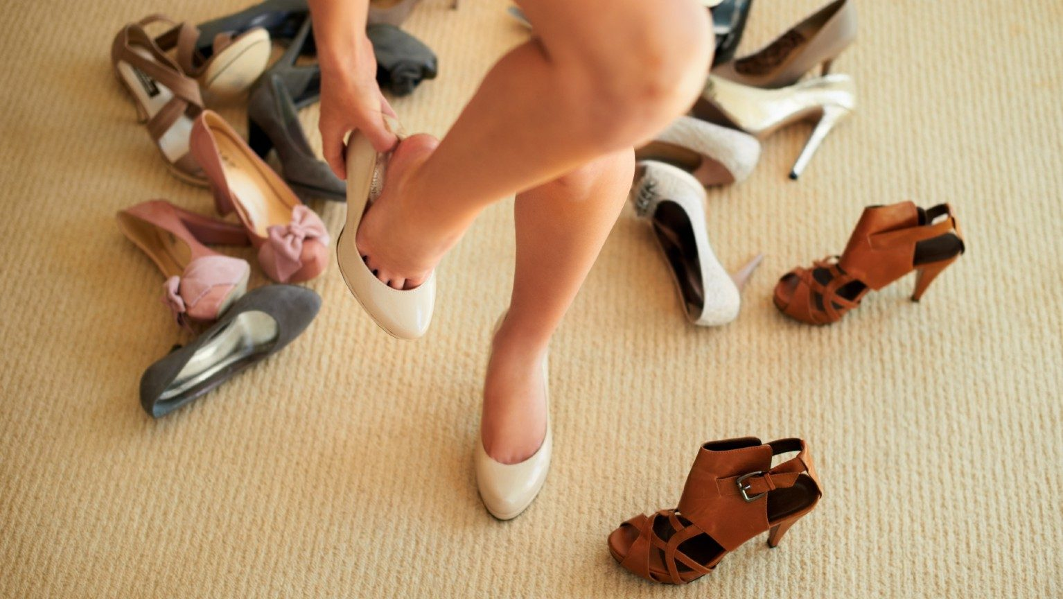 Woman trying on shoes