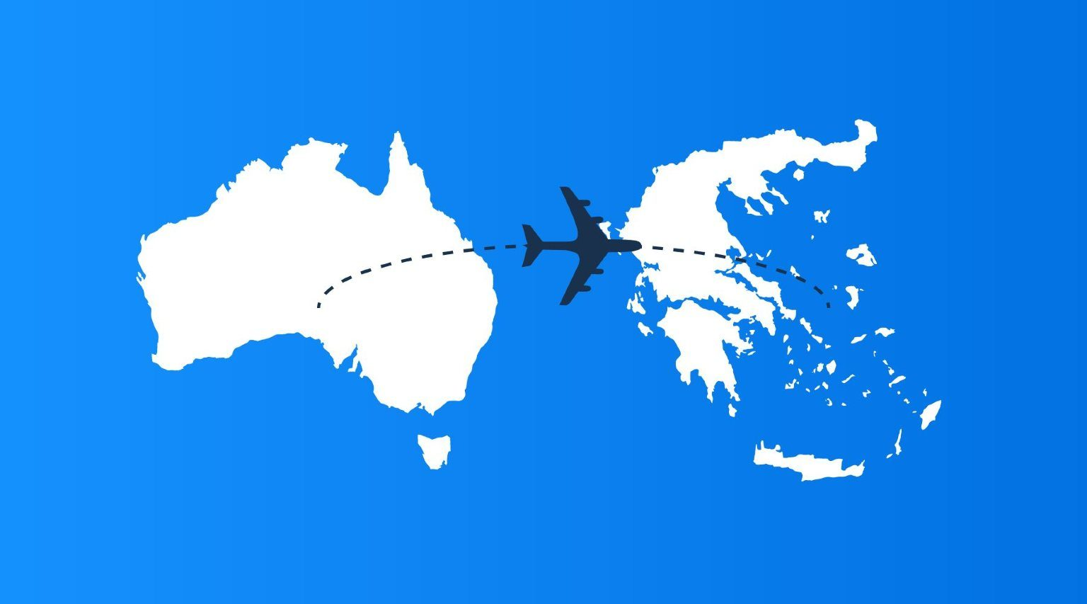 From Australia to Greece map