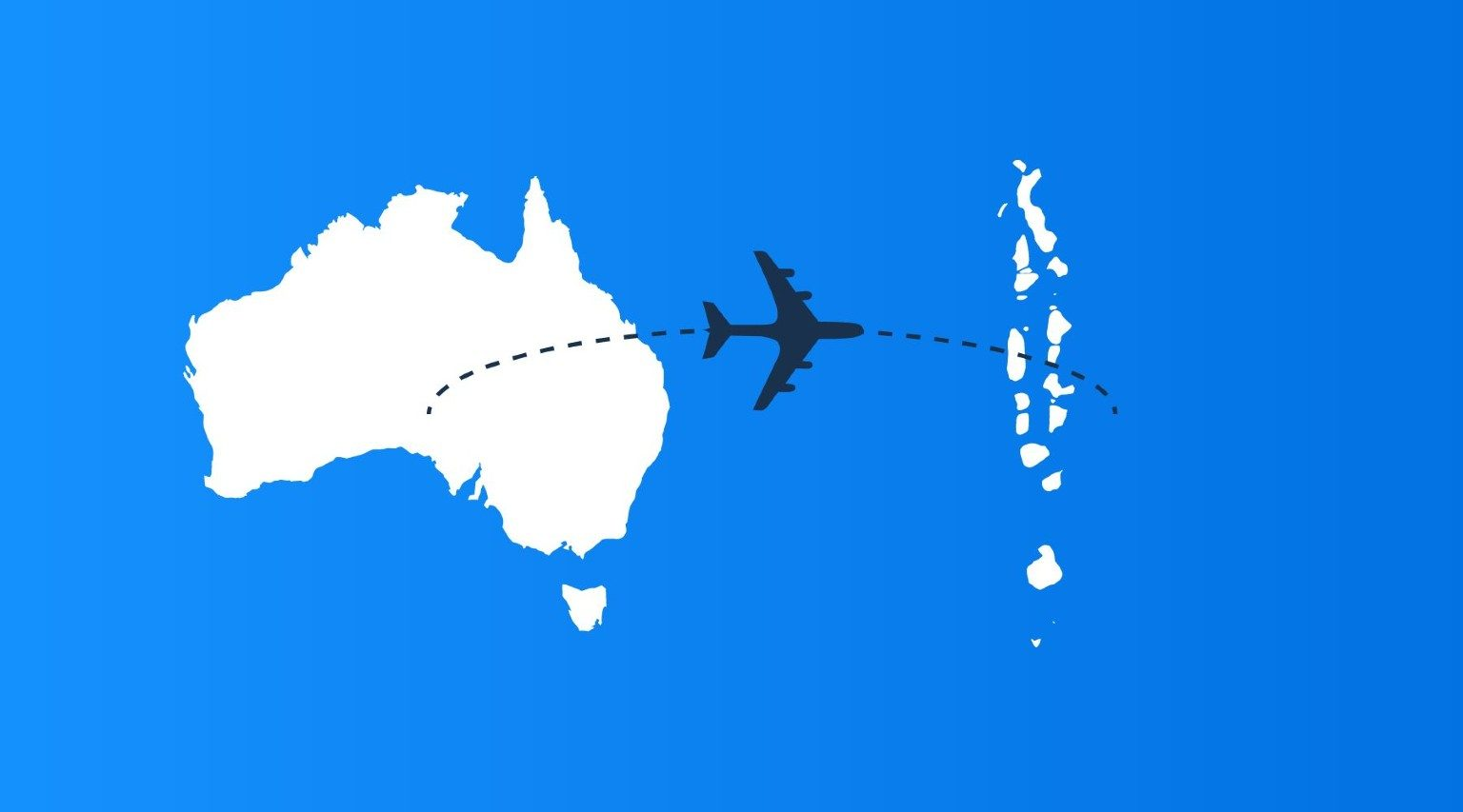 From Australia to Maldives map