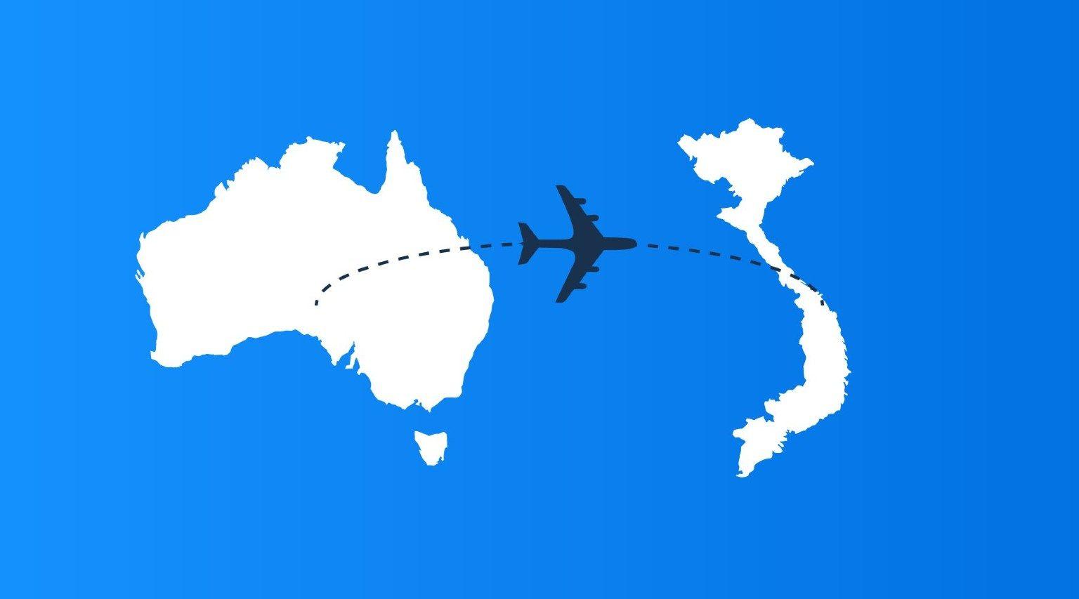 From Australia to Vietnam map