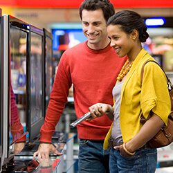 Couple buying a tv