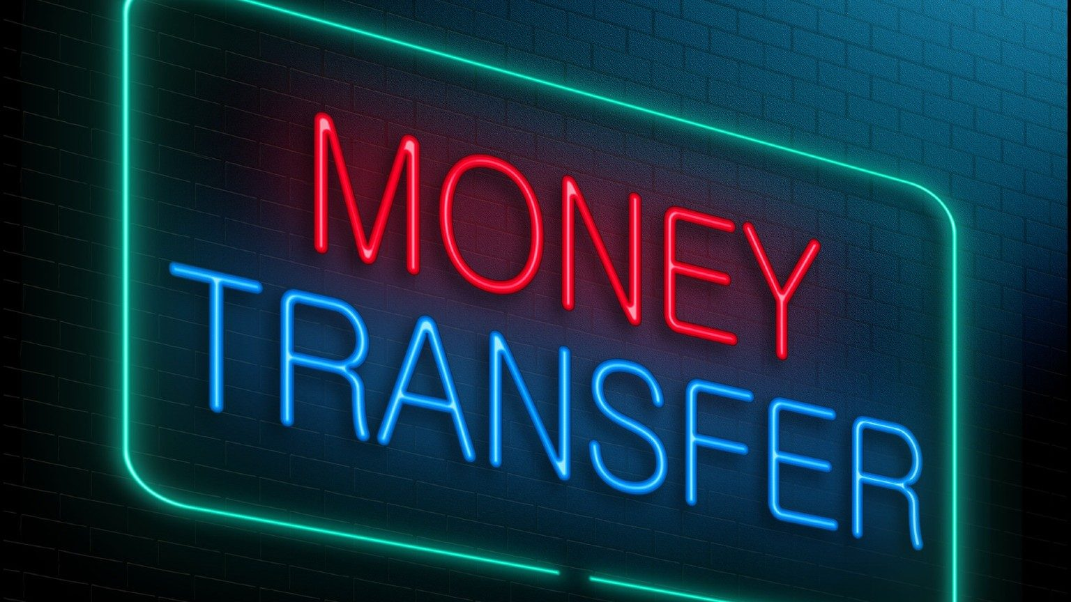 Money Transfer written with led lights
