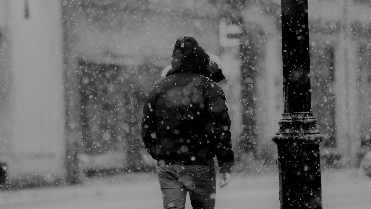 A man walking in snow