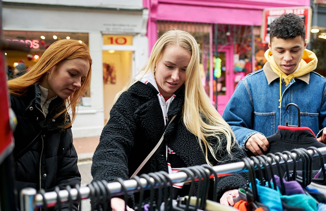 Teens shopping in the high street