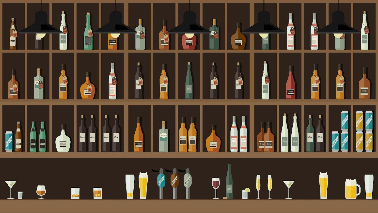 Shelf with bottle icons