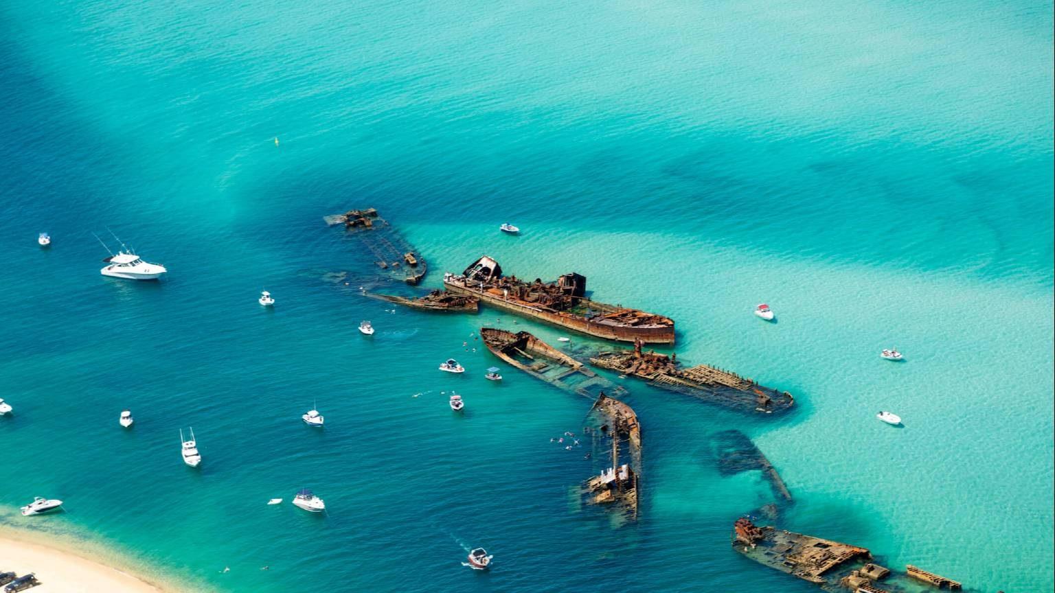 Aerial Views over Ocean waters
