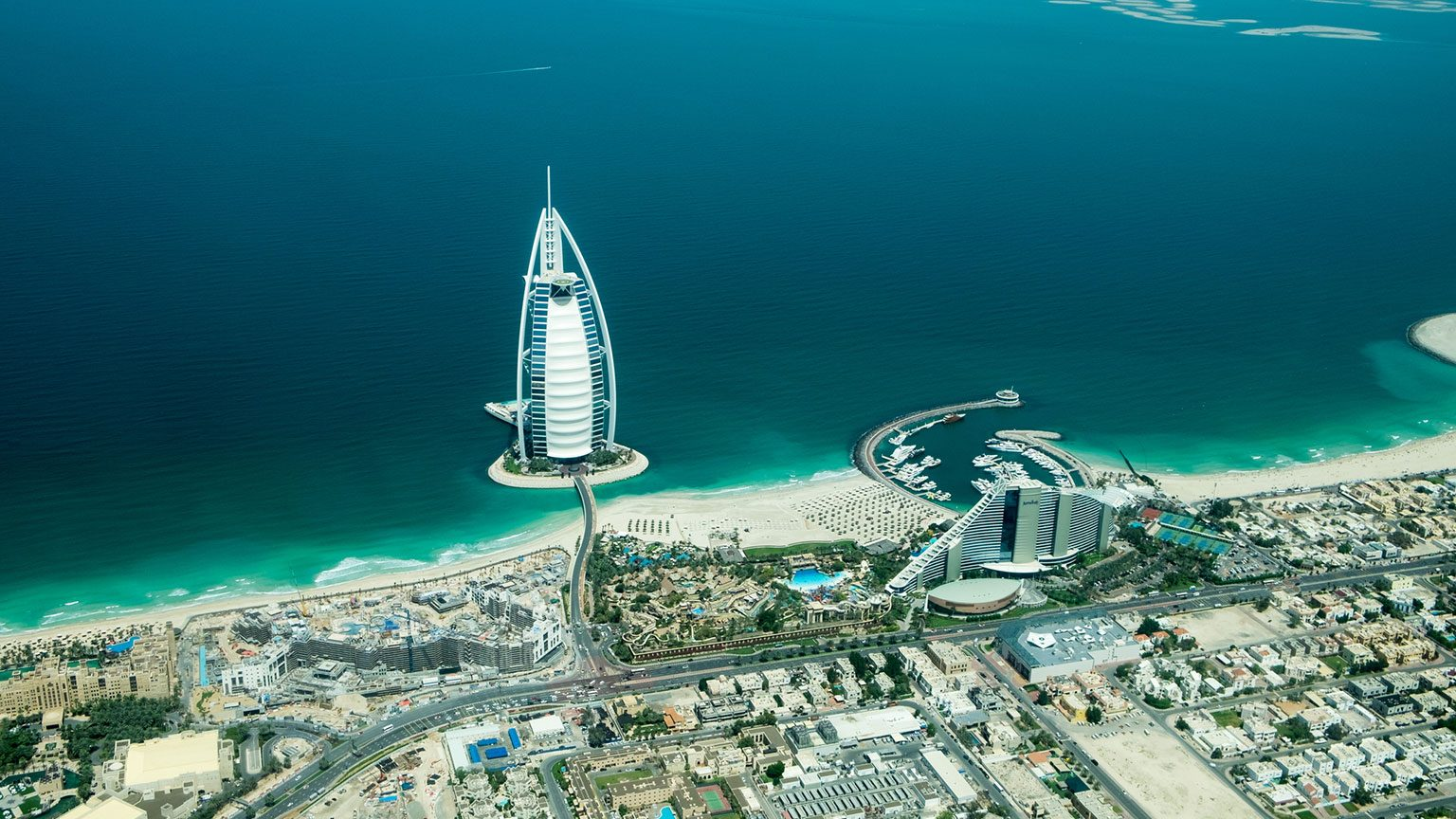 Aerial view of Dubai city, beach and shoreline