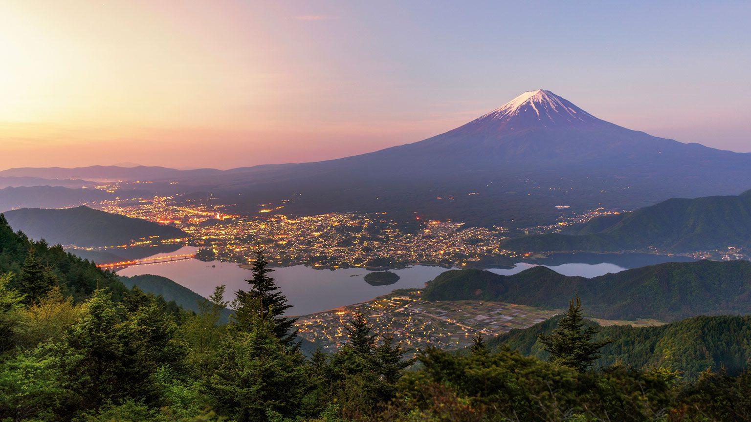 Mount Fuji above Tokyo, Japan at sunset