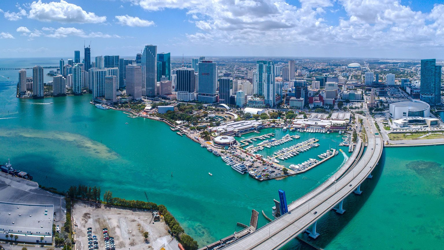 Aerial view of port of Miami
